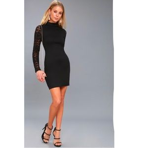 Lulu's Lace Up your Sleeve Black Dress